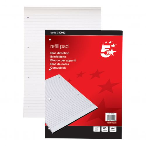 5 Star Office Refill Pad Headbound 60gsm Ruled Punched 4 Holes 160pp A4 Red [Pack 10]