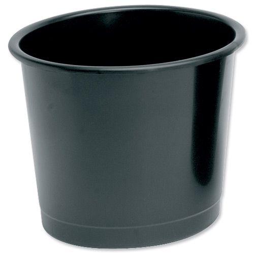 5 Star Office Waste Bin Polypropylene 14 Litre Capacity 304x254mm Black