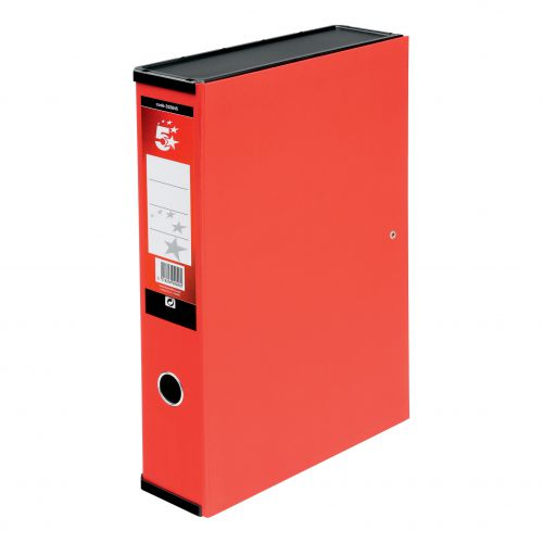5 Star Office Box File 75mm Spine Lock Spring Foolscap Red [Pack 5]