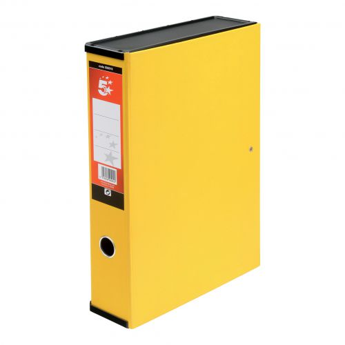 5 Star Office Box File 75mm Spine Lock Spring Foolscap Yellow [Pack 5]