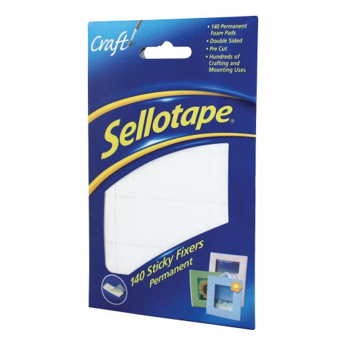 Sellotape Sticky Fixers Double-sided 12x25mm 140 Pads Ref 1445422 [Pack 6]
