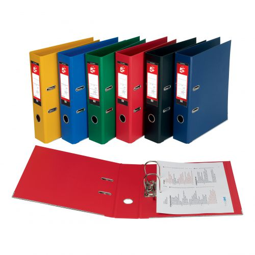 5 Star Office Lever Arch File Polypropylene Capacity 70mm A4 Red [Pack 10]