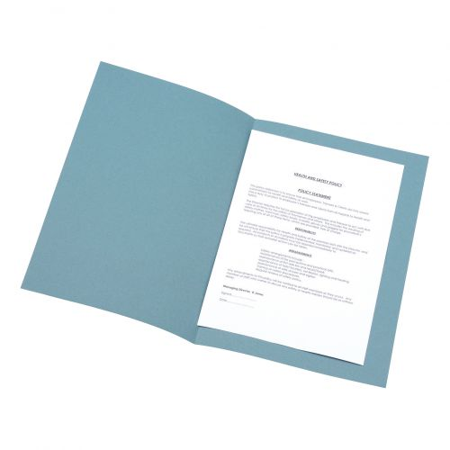 5 Star Office Square Cut Folder Recycled Pre-punched 180gsm Foolscap Blue [Pack 100]