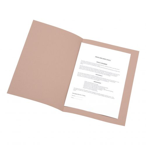 5 Star Office Square Cut Folder Recycled Pre-punched 180gsm Foolscap Buff [Pack 100]