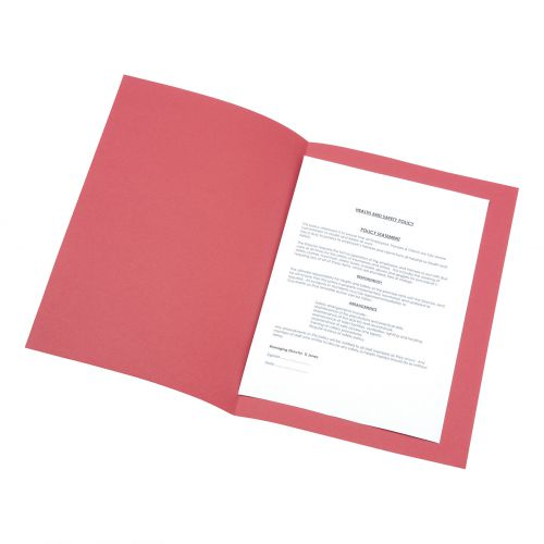 5 Star Office Square Cut Folder Recycled Pre-punched 180gsm Foolscap Red [Pack 100]