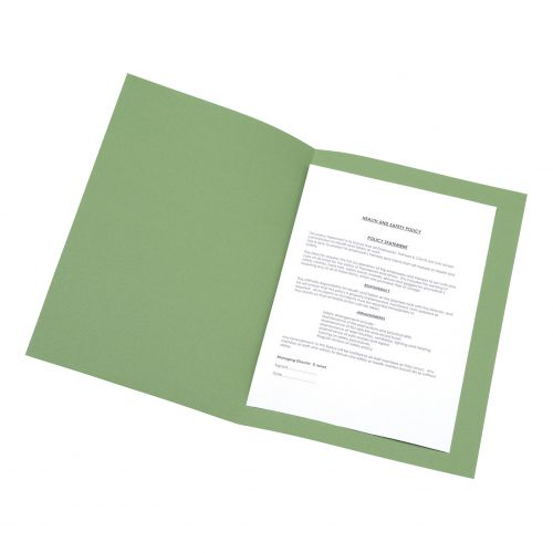 5 Star Office Square Cut Folder Recycled Pre-punched 180gsm Foolscap Green [Pack 100]