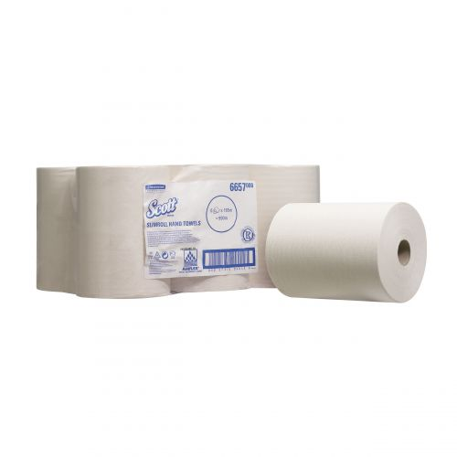Scott Slimroll Hand Towel Single Ply White 198mmx165m Ref 6657 [Pack 6]