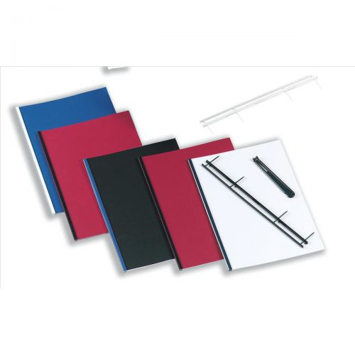 GBC Desktop Velobinder Binding Strips 45mm 4 Prongs Bind 200 Sheets A4 Black Ref 9741635 [Pack 25]