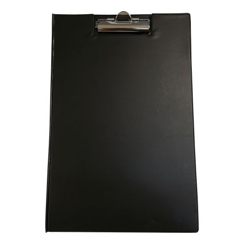 5 Star Office Clipboard Fold Over Executive PVC Finish with Pocket Foolscap Black