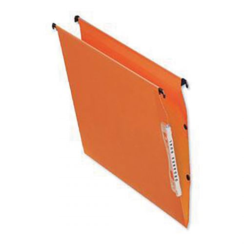 Bantex Linking Lateral File Kraft 15mm Wide-base 210gsm Foolscap Orange Ref 100330742 [Pack 25]