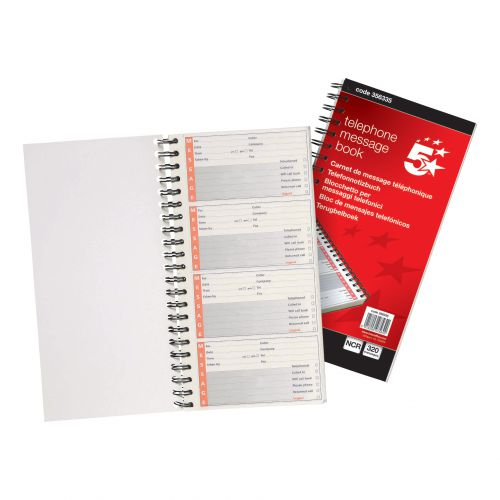 5 Star Office Telephone Message Book Wirebound Carbonless 320 Notes 80 Pages 275x150mm