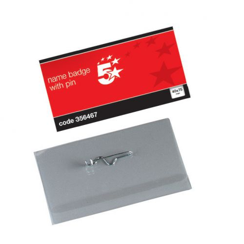 5 Star Office Name Badges Landscape with Pin 40x75mm [Pack 100]