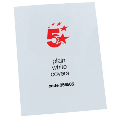 5 Star Office Binding Covers 250gsm Plain A4 Gloss White [Pack 100]