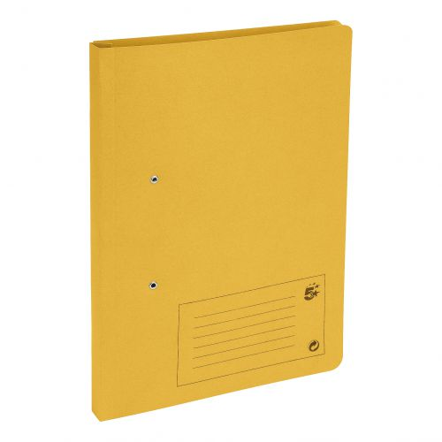 5 Star Office Transfer Spring File Mediumweight 285gsm Capacity 38mm Foolscap Yellow [Pack 50]