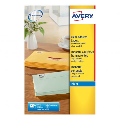 Avery Addressing Labels InkJet 21 per Sheet 63.5x38.1mm Clear Ref J8560-25 [525 Labels]