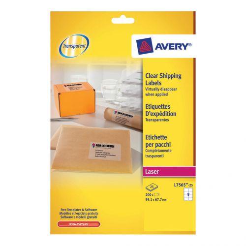 Avery Parcel Labels Laser 8 per Sheet 99.1x67.7mm Clear Ref L7565-25 [200 Labels]