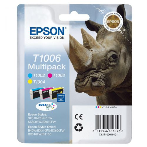 Epson T1006 Inkjet Cartridge Rhino Cyan 915pp/Magenta 635pp/Yellow 990pp 11.1ml Ref C13T10064010 [Pack 3]