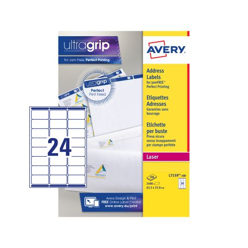 Avery Addressing Labels Laser Jam-free 24 per Sheet 63.5x33.9mm White Ref L7159-100 [2400 Labels]
