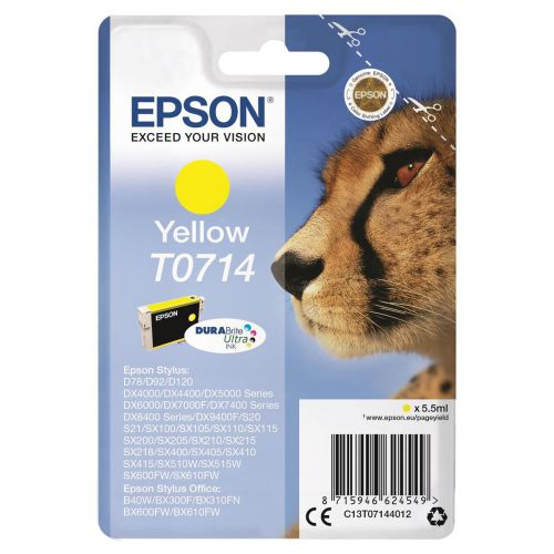 Epson T0714 Inkjet Cartridge Cheetah Page Life 480pp 5.5ml Yellow Ref C13T07144012