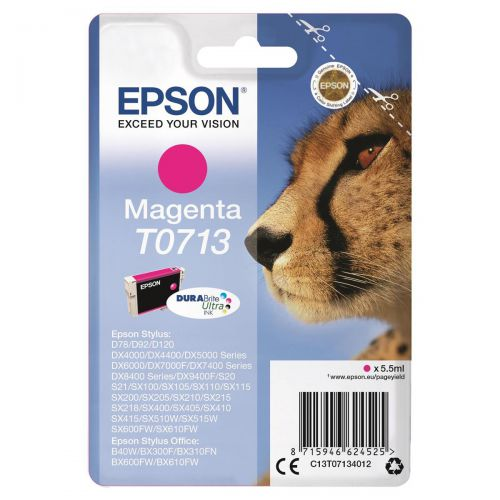 Epson T0713 Inkjet Cartridge Cheetah Page Life 280pp 5.5ml Magenta Ref C13T07134012