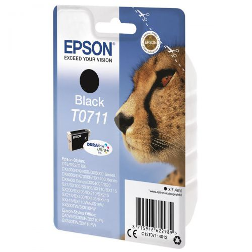 Epson T0711 Inkjet Cartridge Cheetah Page Life 250pp 7.4ml Black Ref C13T07114012
