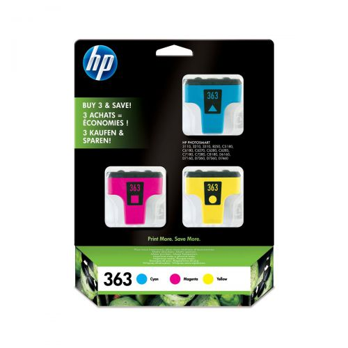 Hewlett Packard [HP] No.363 InkjetCarts Page Life Cyan 400pp/Mag 370pp/Yellow 500pp Ref CB333EE [Pack 3]