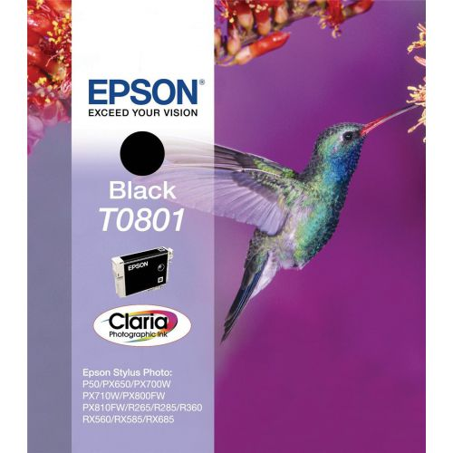 Epson T0801 Inkjet Cartridge Hummingbird Page Life 300pp 7.4ml Black Ref C13T08014011