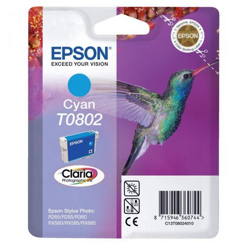 Epson T0802 Inkjet Cartridge Hummingbird Page Life 900pp 7.4ml Cyan Ref C13T08024011