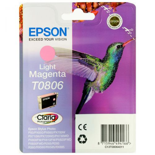 Epson T0806 Inkjet Cartridge Hummingbird Page Life 590pp 7.4ml Light Magenta Ref C13T08064011