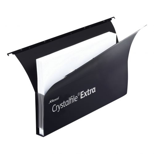 Rexel Crystalfile Extra Secura Suspension File Polypropylene 30mm Foolscap Black Ref 3000087 [Pack 20]