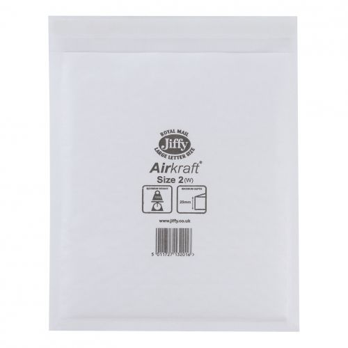 Jiffy Airkraft Bag Bubble-lined Size 2 Peel and Seal 205x245mm White Ref JL-2 [Pack 100]