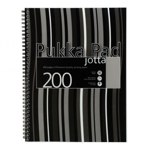 Pukka Pad Nbk Poly Wirebound 80gsm Ruled Margin Perf Punched 4 Holes 200pp A4+ Black Ref JP018-5 [Pack 3]