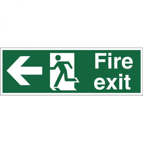 Stewart Superior Safe Condition & Fire Equipment Sign Fire Exit Left Arrow 200x600mm