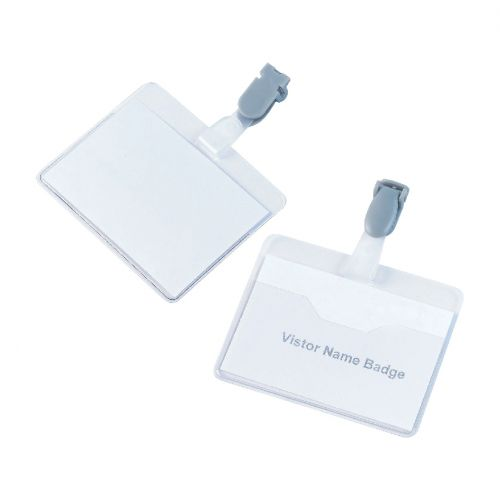 5 Star Office Name Badges Visitors Landscape with Plastic Clip 60x90mm [Pack 25]