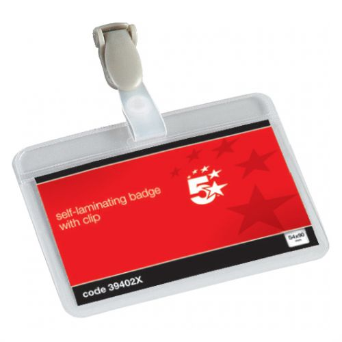 5 Star Office Name Badges Self Laminating Landscape with Plastic Clip 54x90mm [Pack 25]