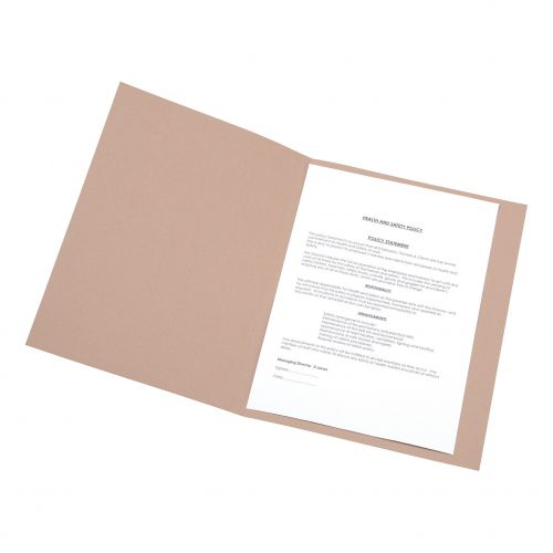 5 Star Office Square Cut Folder Recycled Pre-punched 250gsm A4 Buff [Pack 100]