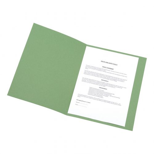 5 Star Office Square Cut Folder Recycled Pre-punched 250gsm A4 Green [Pack 100]