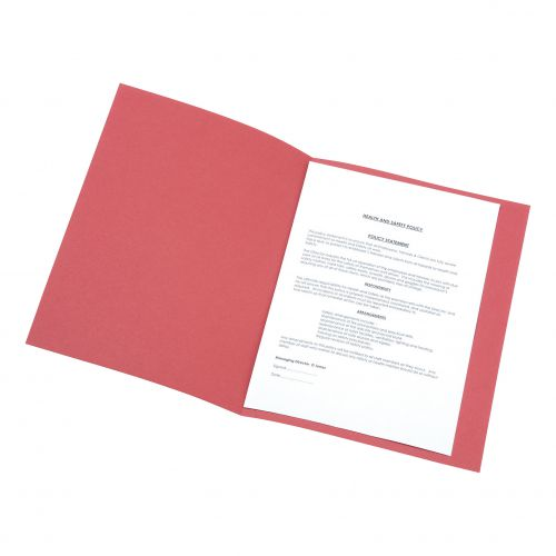5 Star Office Square Cut Folder Recycled Pre-punched 250gsm A4 Red [Pack 100]