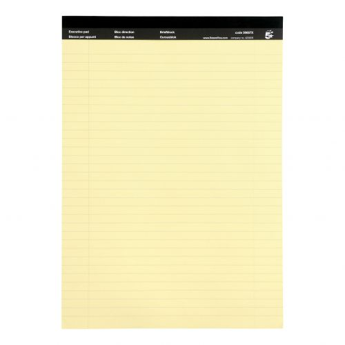5 Star Office Executive Pad Hbd 65gsm Ruled with Blue Margin Perforated 100pp A4 Yellow Paper [Pack 10]