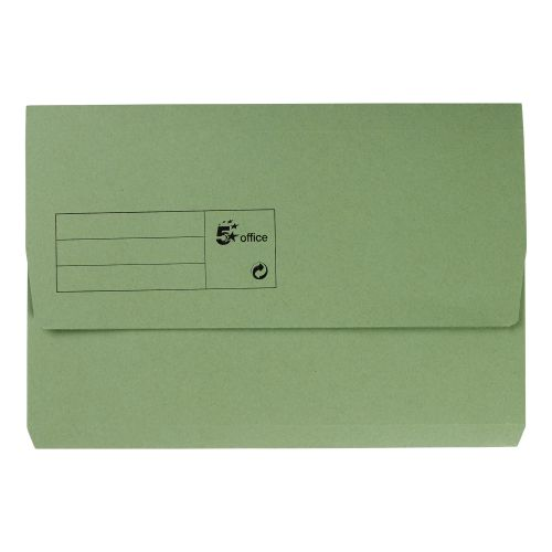 5 Star Office Document Wallet Half Flap 285gsm Recycled Capacity 32mm Foolscap Green [Pack 50]