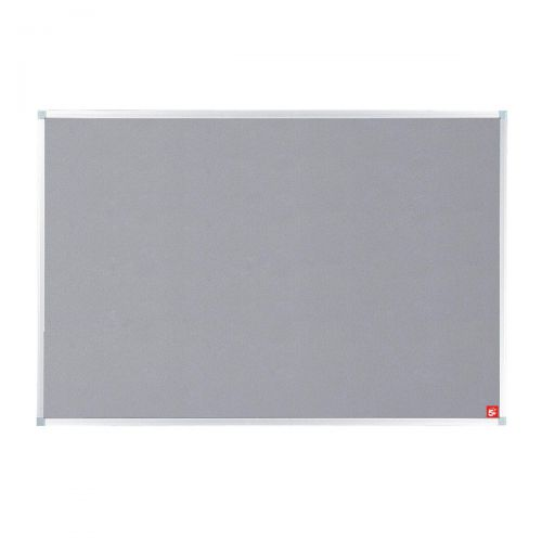 5 Star Office Felt Noticeboard with Fixings and Aluminium Trim W1200xH900mm Grey