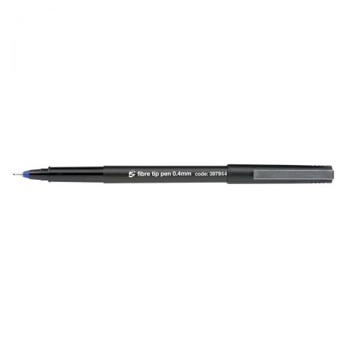 5 Star Office Fibre Tip Pen Medium 0.7mm Tip 0.4mm Line Blue [Pack 12]