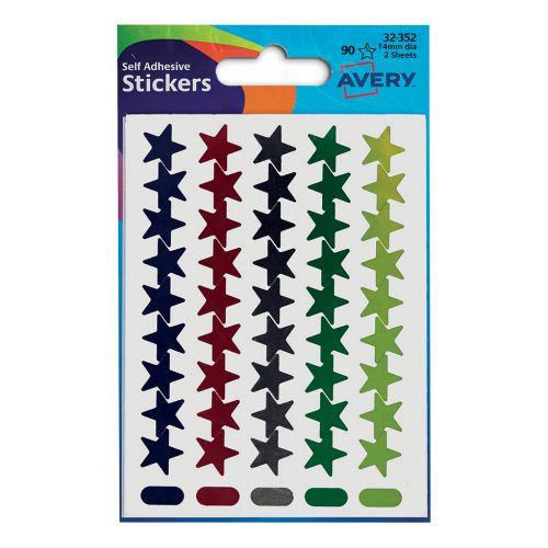 Avery Packet of Labels Star Shaped 14mm Assorted Ref 32-352 [90 Labels]