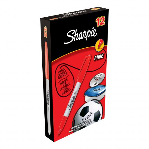 Sharpie Permanent Marker Fine Tip 0.9mm Line Red Ref S0810940 [Pack 12]