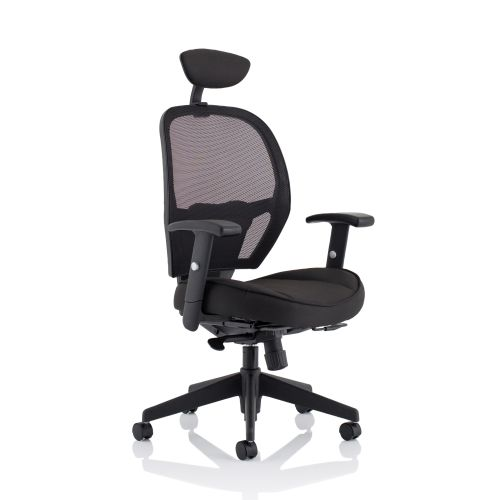 Trexus Amaze Synchronous Head Rest Mesh Chair Black 520x520x470-600mm Ref 11186-01Black