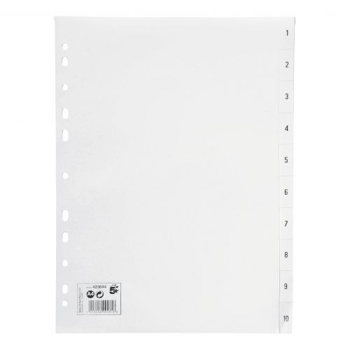 5 Star Office Index 1-10 Polypropylene Multipunched Reinforced Holes 130 Micron A4 White