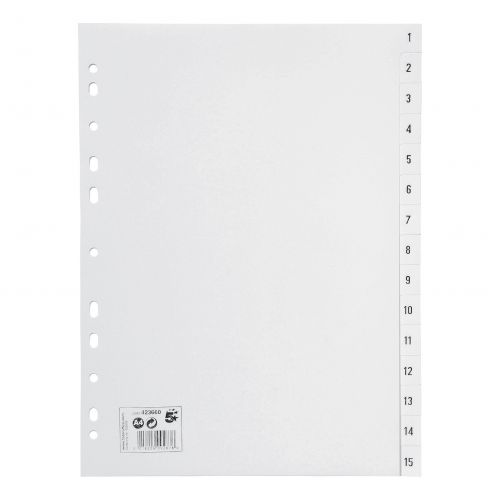 5 Star Office Index 1-15 Polypropylene Multipunched Reinforced Holes 130 Micron A4 White