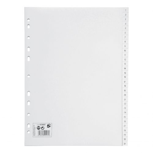 5 Star Office Index 1-31 Polypropylene Multipunched Reinforced Holes130 Micron A4 White