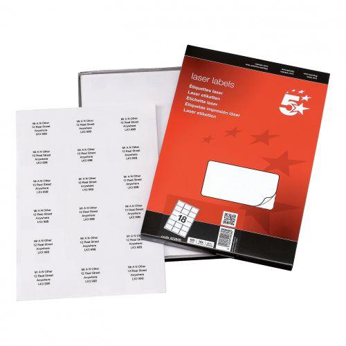 5 Star Office Multipurpose Labels Laser Copier Inkjet 18 per Sheet 63.5x46.6mm White [1800 Labels]