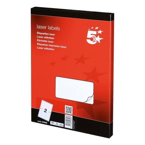 5 Star Office Multipurpose Labels Laser Copier and Inkjet 2 per Sheet 199.6x143.5mm White [200 Labels]